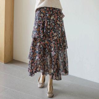 Floral Tiered Long Chiffon Skirt