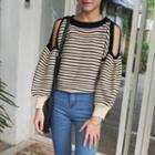 Cutout Shoulder Striped Sweater
