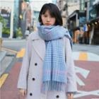 Plaid Fringed Scarf Plaid - Light Blue - One Size
