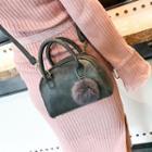 Faux-leather Pompom Handbag
