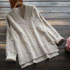 Plain V-neck Knit Top Oatmeal - One Size