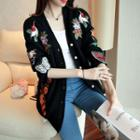 Embroidered Thick Cardigan