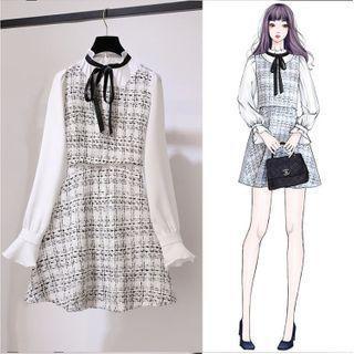 Set: Blouse + Sleeveless Tweed Dress