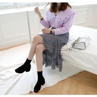 Dip-back Floral Chiffon Skirt