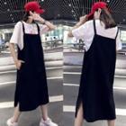Plain Strappy Midi Jumper Dress