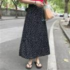 Dotted Wrap Midi Skirt