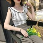 Frilled Striped Sleeveless Knit Top
