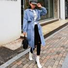 Flap-front Denim Trench Coat With Sash