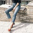 Washed Slim-fit Straight-cut Jeans
