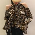 Cold-shoulder Leopard Print Top Leopard - Brown - One Size