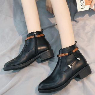 Faux Leather Side-tie Ankle Boots