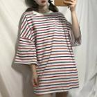 Striped Elbow-sleeve Oversized T-shirt