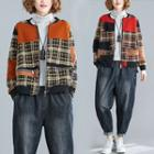 Patterned Quilt Panel Zip Jacket