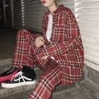 Plaid Shirt/ Straight Cut Pants