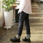 Stitched Straight-cut Raw Jeans