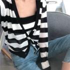 Set: Knit Striped Camisole Top + Striped Cardigan