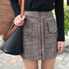 Plaid Zip Front Mini Skirt