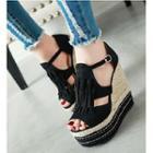 Fringed Platform Wedge Sandals