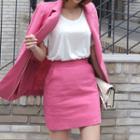 Linen Zip-back Miniskirt