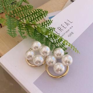 Faux-pearl Hoop Earring Gold - One Size