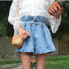 Ruffled Wide-leg Denim Shorts