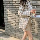 Single-breasted Plaid Linen Blazer