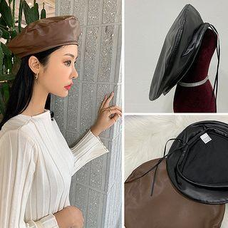 Drawstring Faux-leather Beret