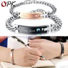 Couple Matching Rhinestone Cross Lettering Bracelet