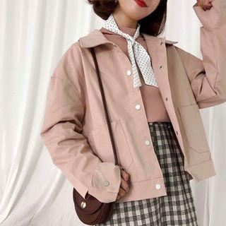 Distressed Cargo Jacket Pink - One Size