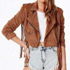 Fringed Faux Suede Biker Jacket