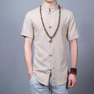 Linen Short-sleeve Knot Button Shirt