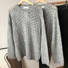 Pointelle Knit Sweater Gray - One Size