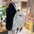 Duck Charm Flower Embroidered Nylon Backpack