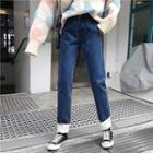 Fleece Panel Straight-fit Jeans