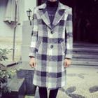 Single Breasted Check Long Coat