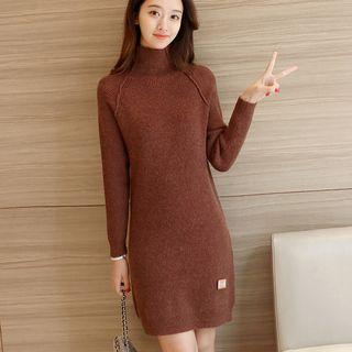 Turtleneck Sheath Knit Dress