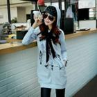 Bow-accent Printed Hooded Long Pullover