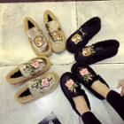 Embroidered Furry Loafers