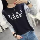 Striped Panel Lettering Long-sleeve T-shirt