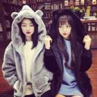 Bear Ear Faux Fur Hooded Coat