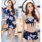 Set: Floral Print Bikini + Cold Shoulder Beach Cover-up Dress
