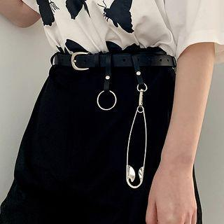 Oversized Safety Pin Faux Leather Belt Black - One Size
