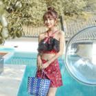 Set: Floral Halter Bikini Top + Swim Skirt