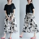 Dotted Panel Short Sleeve Midi Dress