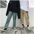 Cropped Lettering Cargo Pants