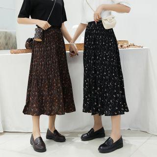 High-waist Floral Printed Pleated A-line Skirt