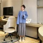 Plain Sweater / Knit Midi Skirt