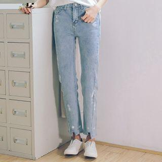 Straight Cut Washed Jeans