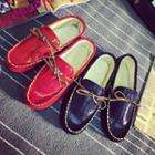 Faux-leather Bow-accent Loafers
