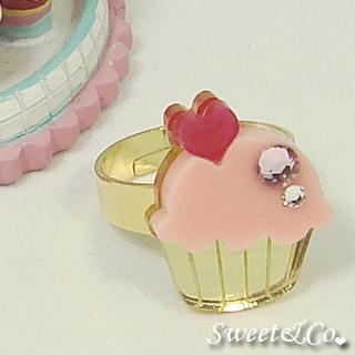 Mini Pink Cupcake Crystal Gold Ring